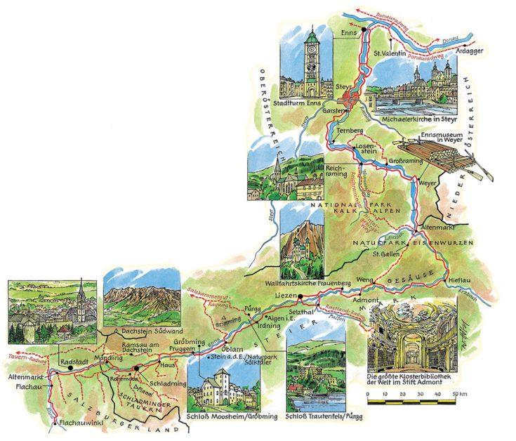Ennstalradweg Karte Radtouren In Österreich 1